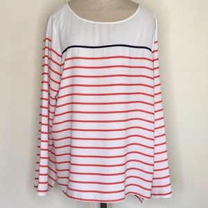 NYDJ XL Long sleeve Blouse Top Striped Blue Red